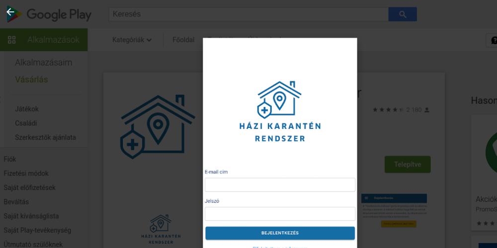 A magyar karantén szoftver a Google Play áruházban
