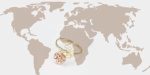 Hol érdemes arany ékszert venni,( egy térkép és egy a Vergina Ékszer Webshop Rosé virág mintás arany gyűrű)